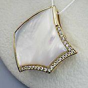 Украшения handmade. Livemaster - original item Silver pendant with 29h28 mm mother of pearl and cubic zirconia. Handmade.