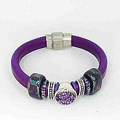 Украшения ручной работы. Ярмарка Мастеров - ручная работа Кожаный браслет  Фиолетовый Бисер - 2. Handmade.