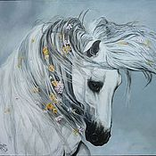 """Картины и панно ручной работы. Ярмарка Мастеров - ручная работа """"Романтика"""" картина маслом лошадь. Handmade."""