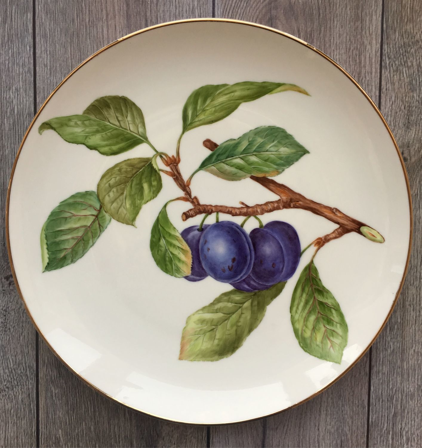 Painted porcelain. Plate ' Plums», Plates, Kaluga,  Фото №1