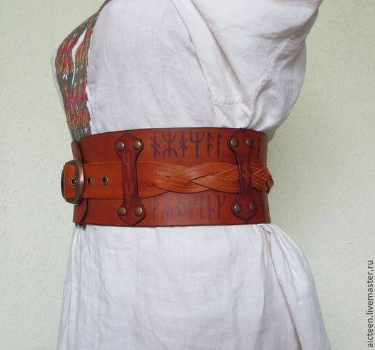 Пояса, ремни ручной работы. Ярмарка Мастеров - ручная работа. Купить Кожаный двойной с плетенкой. Handmade. Рыжий, кожаный ремень