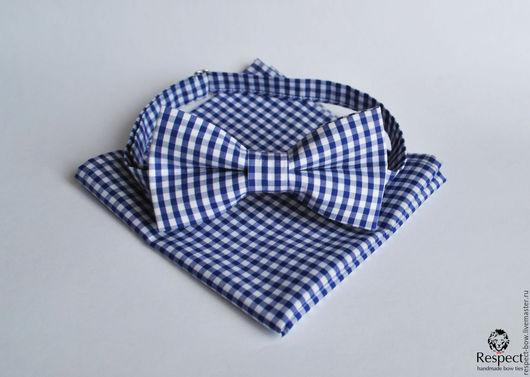 Галстуки, бабочки ручной работы. Ярмарка Мастеров - ручная работа. Купить Синяя галстук бабочка в клетку Прованс + синий нагрудный платок паше. Handmade.