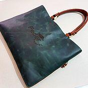 Сумки и аксессуары handmade. Livemaster - original item Bag-folder emerald with tan trim. Genuine leather. Handmade.