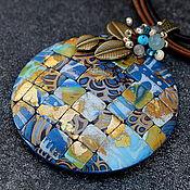 Украшения ручной работы. Ярмарка Мастеров - ручная работа Копия работы кулон из полимерной глины мозаика 9 синие оттенки. Handmade.