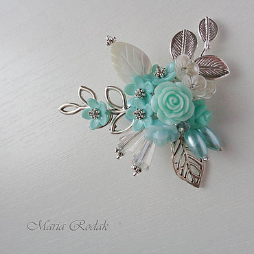 Decorations handmade. Livemaster - original item Turquoise flower brooch. Handmade.