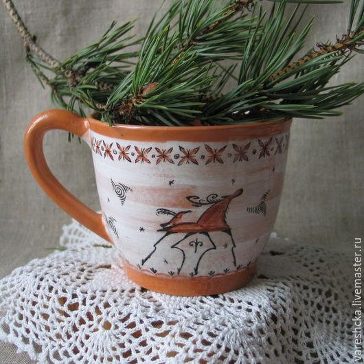Кружки и чашки ручной работы. Ярмарка Мастеров - ручная работа. Купить Кружка Лесной олень. Handmade. Бежевый, кружка керамическая