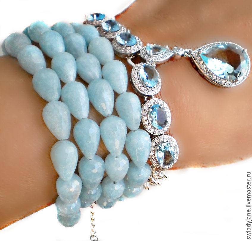 Браслет с аквамаринами голубыми топазами Аквамариновый ноктюрн