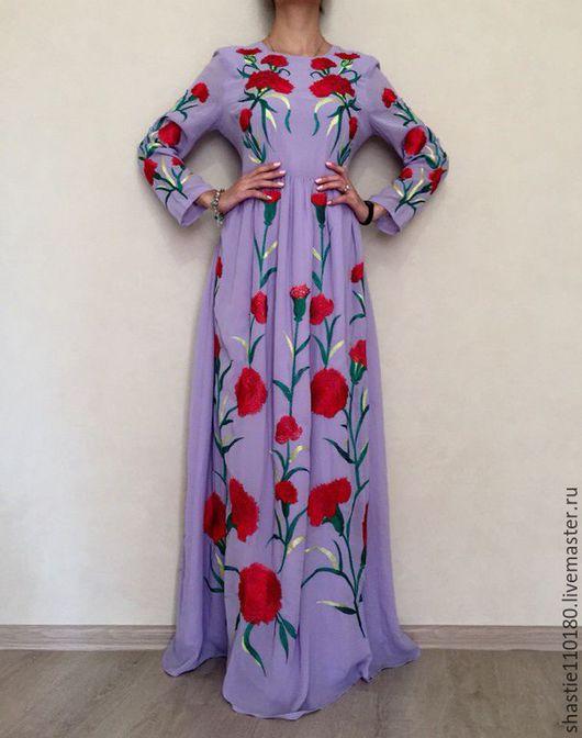 Платье ручной работы.Ярмарка мастеров - ручная работа.Купить вечернее платье .Сиреневый.Платье с вышивкой.