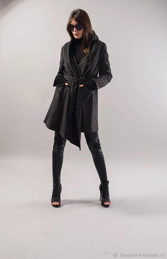 Hooded Long Wool Coat/ Winter Cape Coat /Cashmere Wool Coat /F1738, Coats, Sofia,  Фото №1