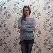 Одежда ручной работы. Ярмарка Мастеров - ручная работа Голубой вязаный свитер. Handmade.