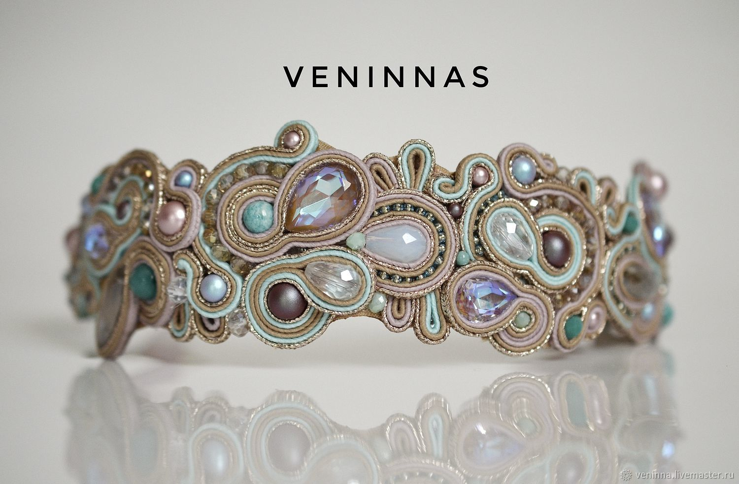 Soutache headband in soft colors 'the Flavor of summer', Headband, Moscow,  Фото №1