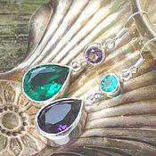 Украшения handmade. Livemaster - original item Earrings double asymmetric silver - Topaz green/purple. Handmade.