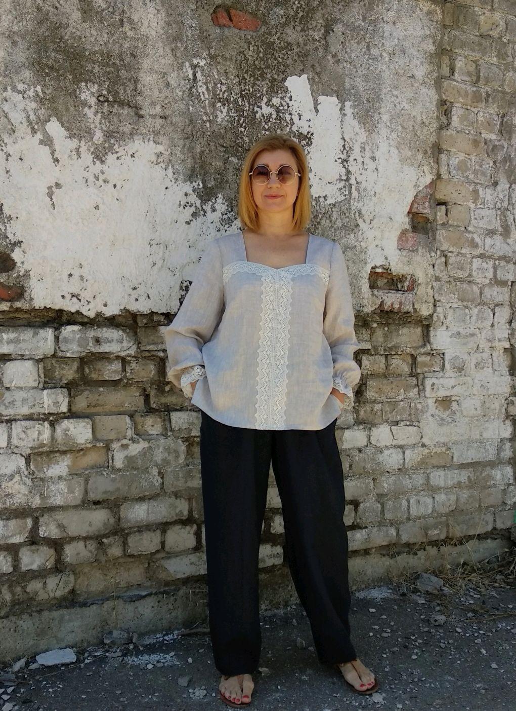 Блуза из льна серая Арт 129-7 с кружевом длинный рукав, Блузки, Новороссийск,  Фото №1