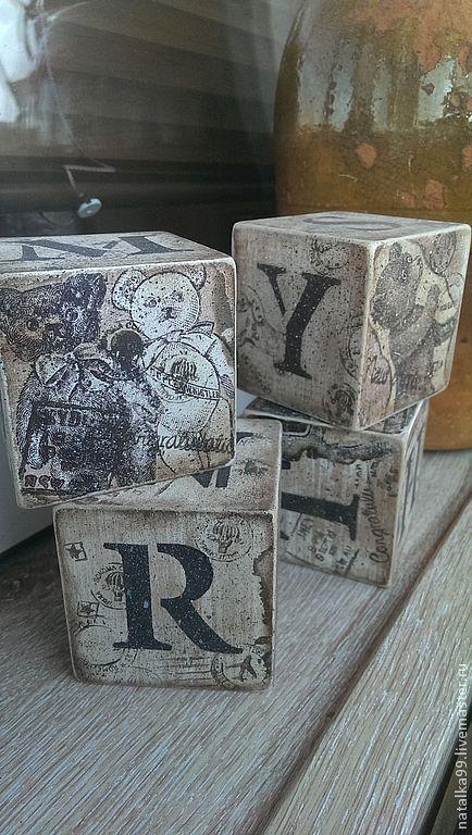 """Детская ручной работы. Ярмарка Мастеров - ручная работа. Купить Кубики """"Винтажное детство"""".. Handmade. Коричневый, игрушка для детей"""