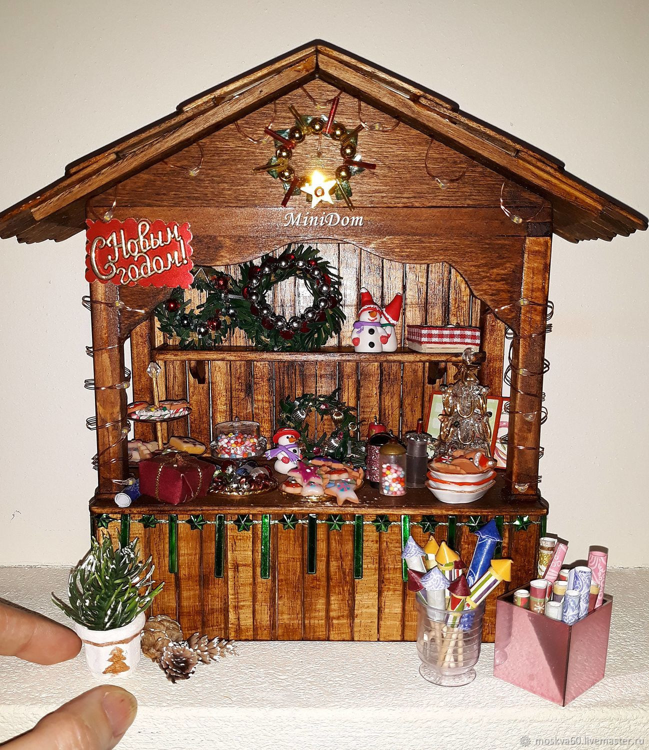 Christmas Counter Display Cases For Dollhouse Miniatures