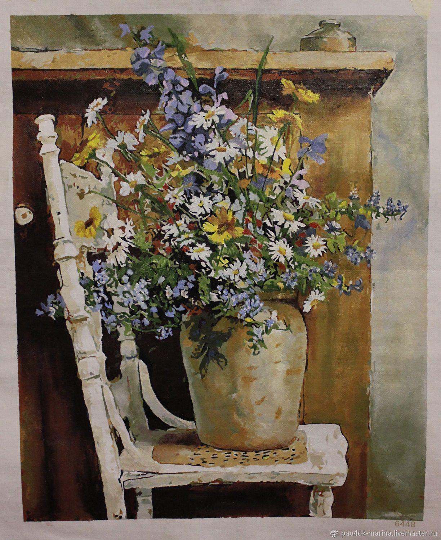 """Картина """"Цветы в вазе на стуле"""", Картины, Видное, Фото №1"""
