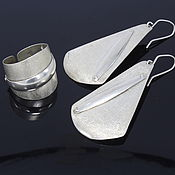 Украшения handmade. Livemaster - original item Minima series Cone ring and earrings in combination silver. Handmade.