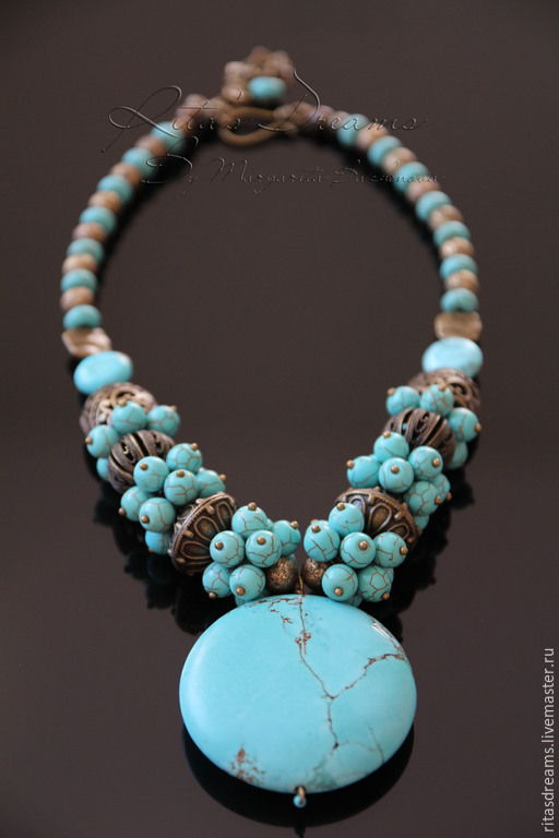 Striking necklace with a large Central element - turquoise pendant - a bright accent for completeness of the image.
