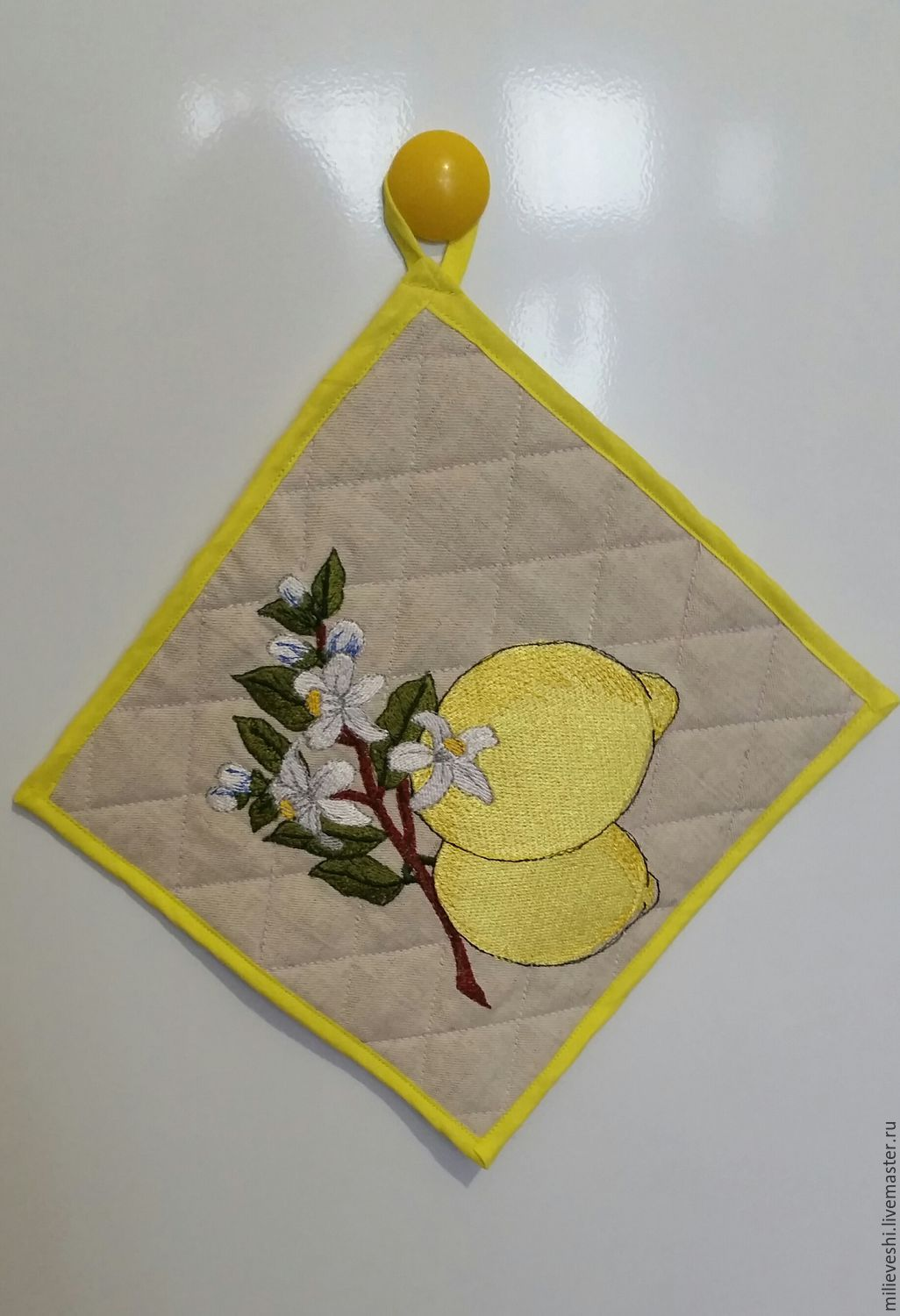 Linen potholder with embroidered Lemon, Potholders, Ivanovo,  Фото №1