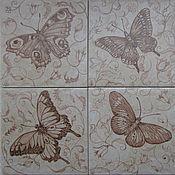 Картины и панно handmade. Livemaster - original item Ceramic tile with Butterflies. Handmade.