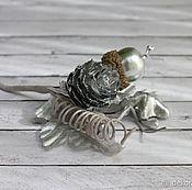 Материалы для творчества handmade. Livemaster - original item Bouquet with pine cones, silver, 13 cm. Handmade.