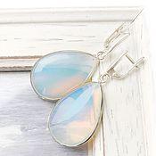 Украшения handmade. Livemaster - original item Cool earrings moonstone silver drop, freshness, blue white. Handmade.