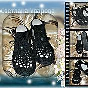 Обувь ручной работы. Ярмарка Мастеров - ручная работа Босоножки женские,чёрные.Хлопок-стрейч,подошва ТЭП.. Handmade.