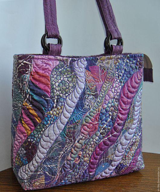 Женские сумки ручной работы. Ярмарка Мастеров - ручная работа. Купить сумка текстильная Сиреневая. Handmade. Сиреневый