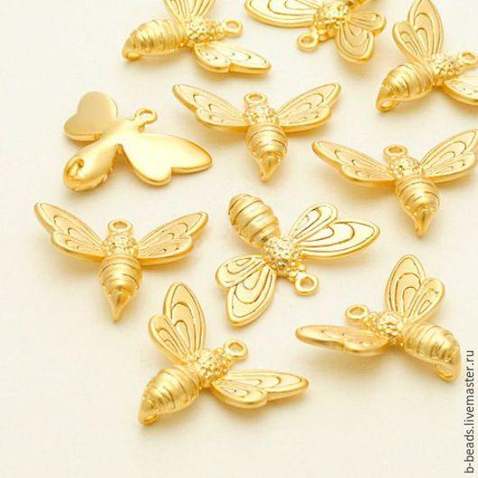 """Для украшений ручной работы. Ярмарка Мастеров - ручная работа. Купить Коннектор позолоченный """" Пчела """". Handmade."""
