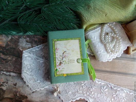 """Блокноты ручной работы. Ярмарка Мастеров - ручная работа. Купить Блокнотик""""Истинная любовь вечна"""". Handmade. Зеленый, блокнот в подарок, скрап"""