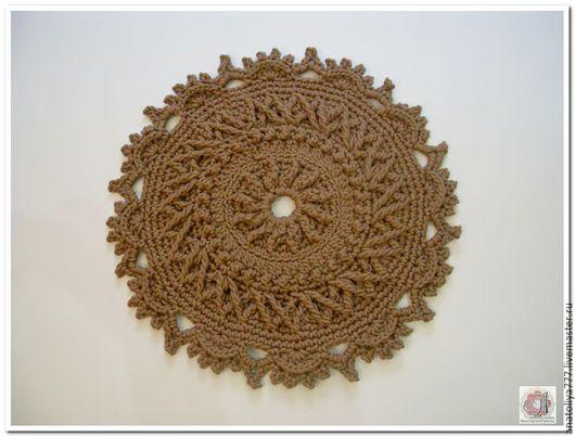 Текстиль, ковры ручной работы. Ярмарка Мастеров - ручная работа. Купить Прикроватный коврик вязаный из шнура. Handmade. Коричневый, ажурный