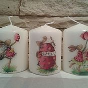 Подарки к праздникам handmade. Livemaster - original item Candles decoupage Easter. Handmade.