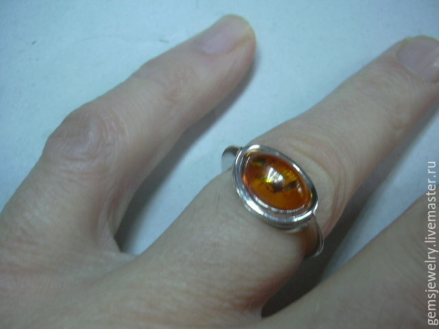 Elegant ring with AMBER,925 sterling silver, Rings, Ekaterinburg,  Фото №1
