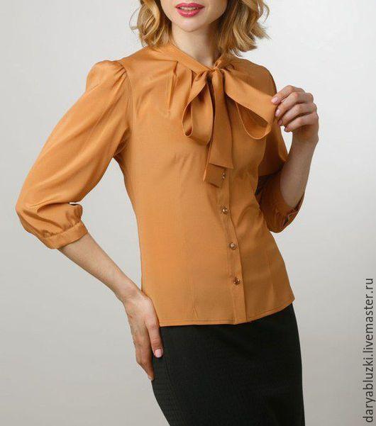 """Блузки ручной работы. Ярмарка Мастеров - ручная работа. Купить Блузка из шелка """"Модница"""". Handmade. Оранжевый, однотонный, блузка, офис"""
