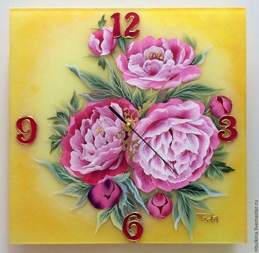 """Часы для дома ручной работы. Ярмарка Мастеров - ручная работа. Купить Часы """" Пионы"""". Handmade. Разноцветный, часы настенные"""