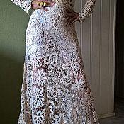 Одежда ручной работы. Ярмарка Мастеров - ручная работа Бежевое длинное платье крючком . Ирландское кружево ,ирландское вязани. Handmade.