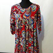 Одежда ручной работы. Ярмарка Мастеров - ручная работа Штапельное платье жар птица 100 см. Handmade.