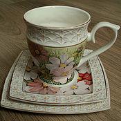 Посуда handmade. Livemaster - original item Porcelain trio with