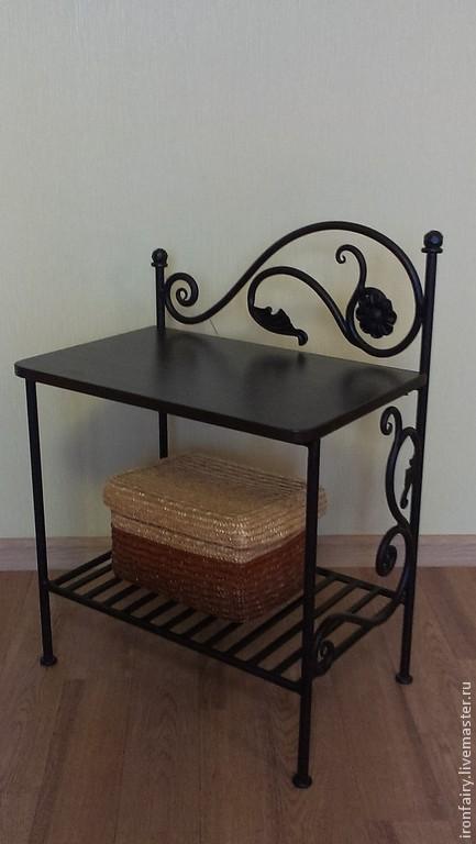 Мебель ручной работы. Ярмарка Мастеров - ручная работа. Купить Столик - тумбочка прикроватная кованая. Handmade. Черный, прихожая, подарок