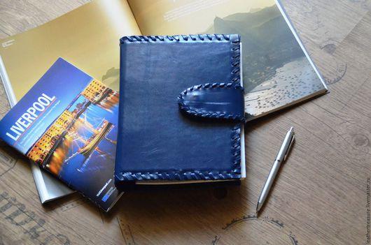 Ежедневники ручной работы. Ярмарка Мастеров - ручная работа. Купить Тетрадь со сменным блоком в кожаной обложке. Handmade. Синий
