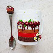 Посуда ручной работы. Ярмарка Мастеров - ручная работа Кружка Вишнёвый торт. Handmade.