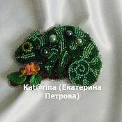 """Украшения handmade. Livemaster - original item Beaded Brooch """"Chameleon"""". Handmade."""