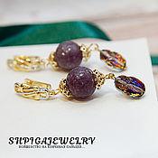 Украшения handmade. Livemaster - original item Gold plated earrings with lepidolite and Swarovski scarabs