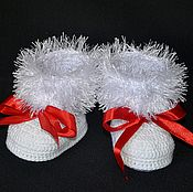 Работы для детей, handmade. Livemaster - original item White dressy booties for girls,dressy booties. Handmade.
