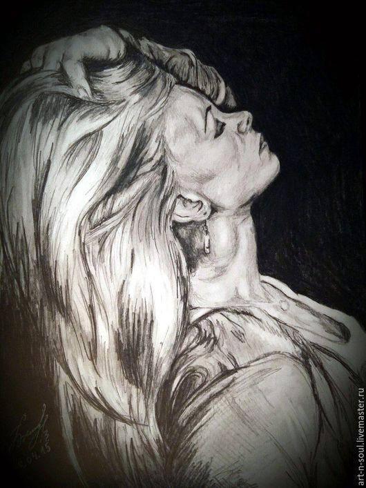 Люди, ручной работы. Ярмарка Мастеров - ручная работа. Купить Портрет девушки карандашом. Handmade. Чёрно-белый, портрет в подарок