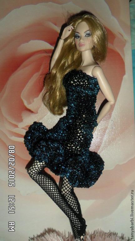 Одежда для кукол ручной работы. Ярмарка Мастеров - ручная работа. Купить вязанное платье для кукол. Handmade. Тёмно-синий