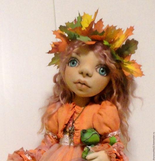 Коллекционные куклы ручной работы. Ярмарка Мастеров - ручная работа. Купить Кукла интерьерная текстильная. Осенняя девочка.. Handmade. Оранжевый