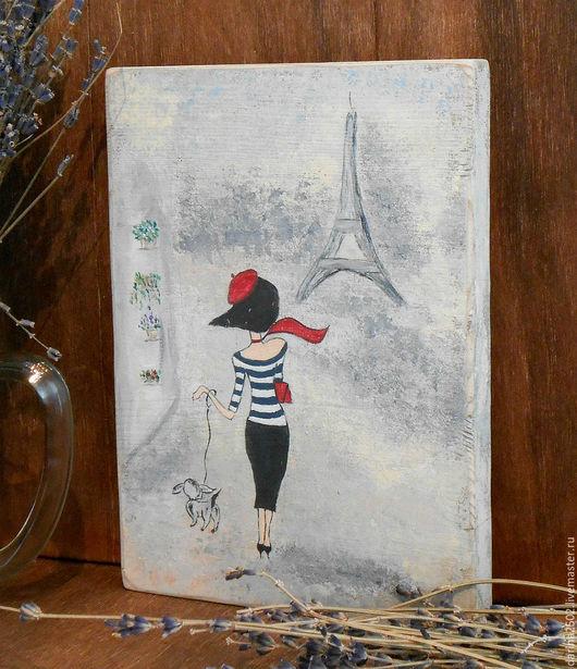Декоративное панно для интерьера во французском стиле. Рисунок на дереве акриловыми красками. `Парижанка`.