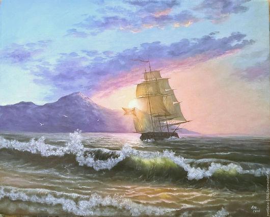 Пейзаж ручной работы. Ярмарка Мастеров - ручная работа. Купить Парусник. Handmade. Голубой, море, корабль, солнце, утро, паруса