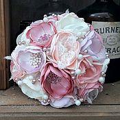 Свадебный салон handmade. Livemaster - original item Peony Wedding Bridal brooch bouquet pink and white with lace vintage. Handmade.